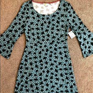 NWT Boden Pine Tree Blue Starry Bird Knit Dress 12